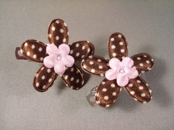 Little Girl's Fashion Hair Clippies - Pink and Brown Flower - Style 4 - Set of Two