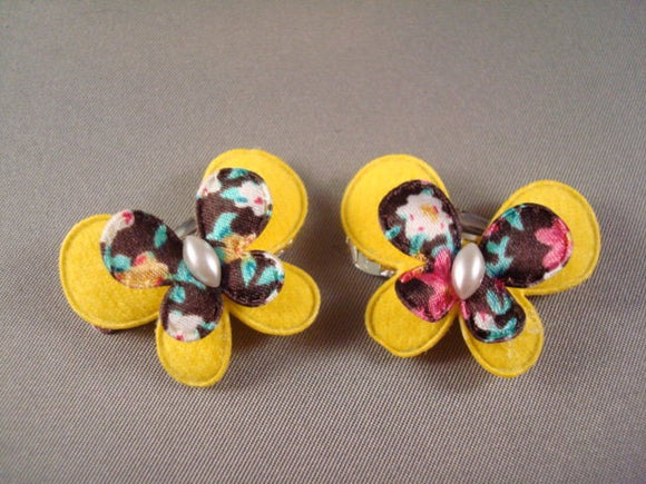 Baby Girl's Yellow Butterfly Fabric Hair Clips Barrettes - Set of Two