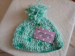 Precious Hand-Stitched Unisex Baby Hat  with PomPom - Fun Greens 2476