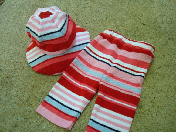 Upcycled Cotton Baby Girls Capri Pants and Matching Sunhat Set - Bailey 661