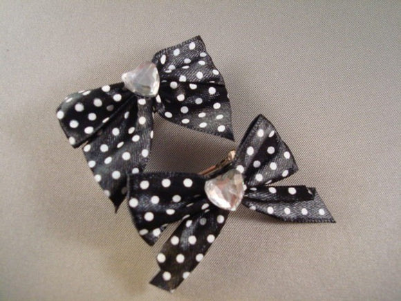 Mumtaz Bow Collection - Little Girl's Black Polka Dot Hair Clippies - Set of Two