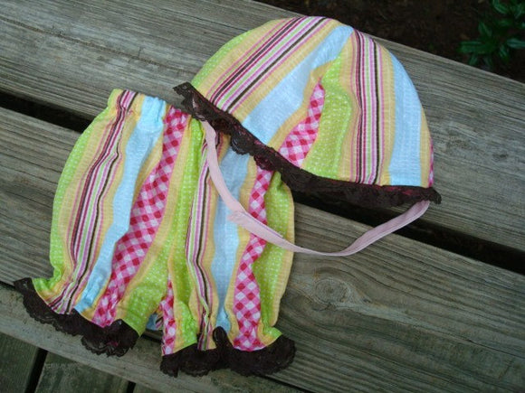 Baby Girl's Handmade Lightweight Panty Shorts Bloomers and Matching Bucket Hat - Spring Stripe 732