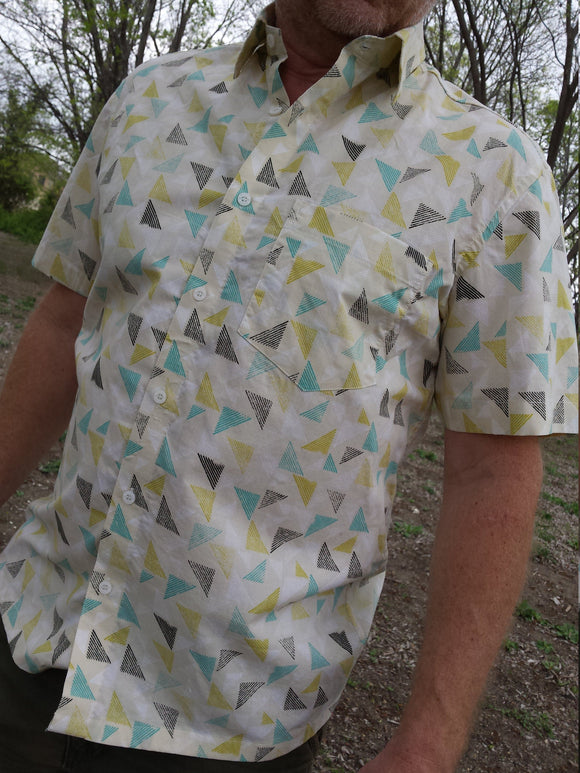 Men's Organic Cotton Button Down Handmade Shirt - Triangle Geometric on Ivory - Remus J997