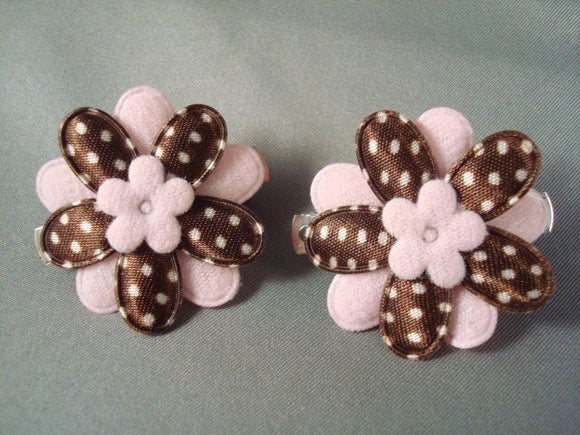 Little Girl's Fashion Hair Clippies Set - Pink and Brown Floral Daisy - Style Two