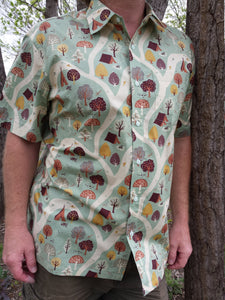 Nature Themed Men's Handmade Organic Cotton Button Down Dress Shirt - Trees Forest Path on Light Green - Nahele J989