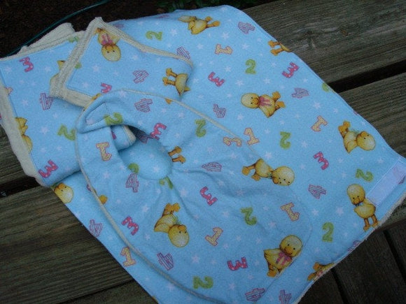 Baby Shower Gift Set - Waterproof Organic Cotton Bib, Burp Cloths, Changing Pad, Diaper Set - Counting Ducks 742