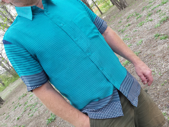 Men's Lined Sari Chiffon Short Sleeves Button Down Dress Shirt - Lightweight Summer Dress Shirt - Teal Blue Check - Nevis K1001