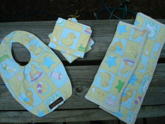 Baby Shower Gift Set - Waterproof Organic Bamboo Bib, Burp Cloths, and Washcloths Set - Welcome Baby 760