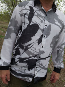 Men's Lined Sari Chiffon Material Long Sleeve Button Down Handmade Dress Shirt - Gray Scale Splash on White - Ferrand J991