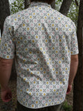 Handmade Men's Organic Cotton Button Down Dress Shirt - Sunburst Geometric on White - Chiarore J990