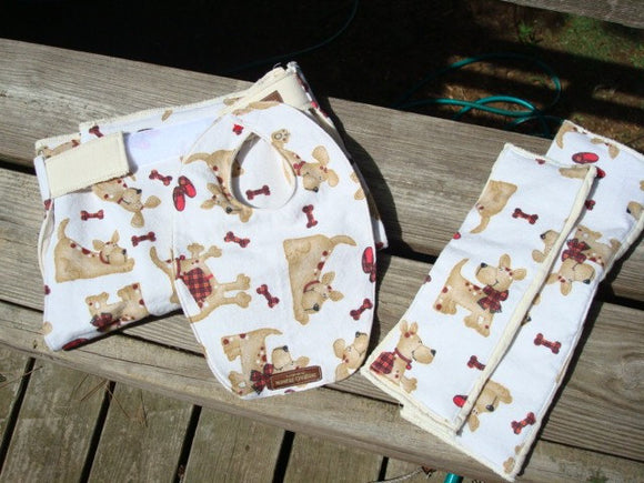 Baby Shower Gift Set - Waterproof Organic Cotton Bib, Burp Cloths, Changing Pad - Embellished Diaper Set - Scottie Pup 746