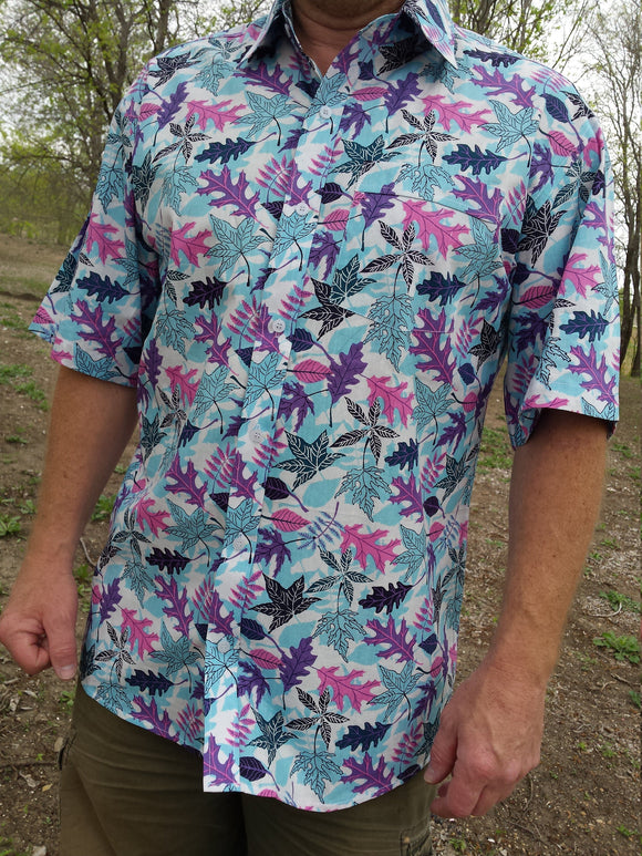 Men's Colorful Printed Indian Woven Cotton Short Sleeve Button Down Pocket Shirt - Pink Purple Blue Leaves - Size Large Tall - Vadim K1009