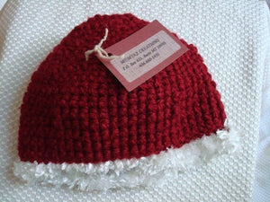 Cranberry Red Baby Girl's Decorated Trim Beanie Hat - 981