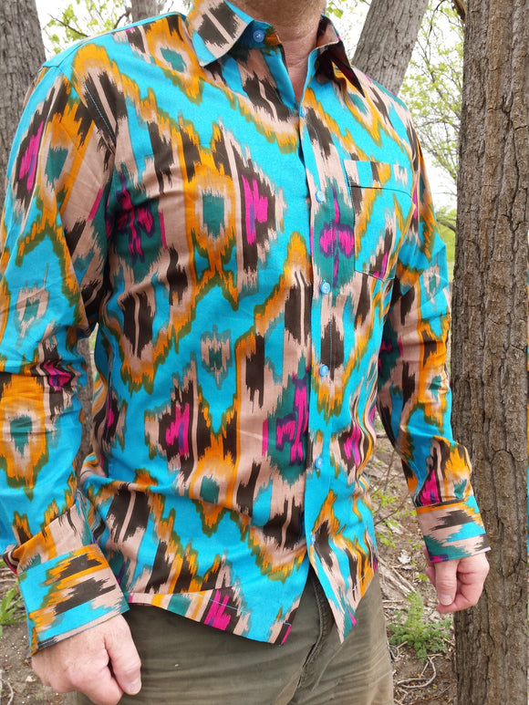 Long Sleeve Men's Handmade Artwork Indian Soft Cotton Button Down Pocket Shirt - Southwest Print - Havasupai J995