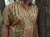 Spirit Warrior - Men's Handmade Hand Block Printed Indian Soft Cotton V Neck Casual Kurta Shirt - Tribal Primitive Print - Cheveyo K1017