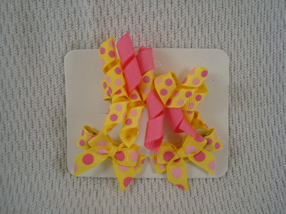 Korker Hair Bow with Matching Mini Clip Set - Yellow Dots