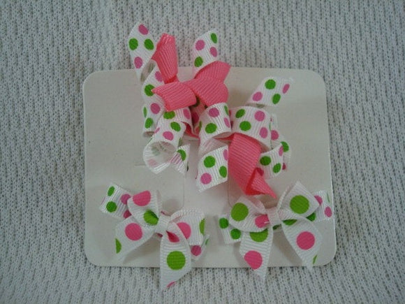 Korker Hair Bow with Matching Mini Clip Set - White Dots