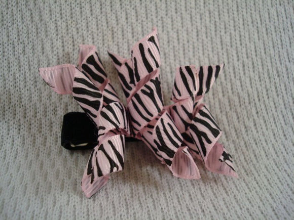 Girl's Spiral Ribbon Korker Bow Hair Clip - Pink Zebra