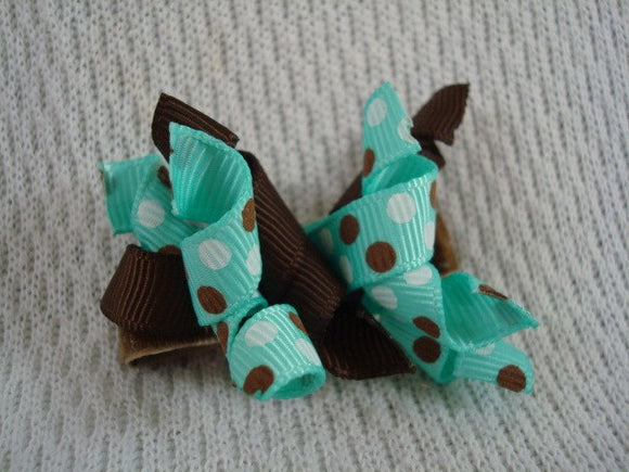 Girl's Korker Spiral Ribbon Bow Hair Clip - Aqua and Brown