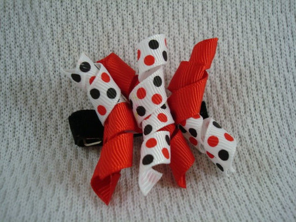 Girl's Korker Spiral Ribbon Bow Hair Clip - Red Black and White Dots