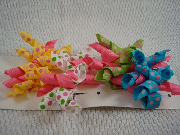 Buy Three Get One FREE - Little Girl's Multi Color Spiral Korker Hair Bow Set of 4 - Bright Polka Dots