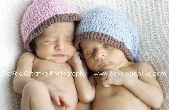 Fraternal Twins Newborn Soft Wool with Cotton Trim Hat Set - Baby Boy Blue 1064