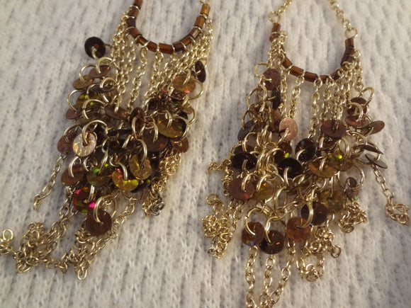 Golden and Brown Dangle Chain Sequin Earrings - Radhika F026