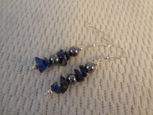 Deep Blue and Grey - Lapis and Gray Pearl Earrings - Celine F061
