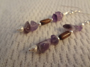 Purple Birthstone Amethyst Chip and Handmade Wood Earrings - Sangeetha F062
