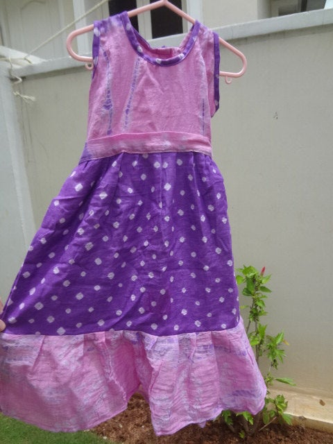 Tie Dye Pink and Purple Cotton Flare Dress in 12M, 3T, or 5T - Kyra 2864