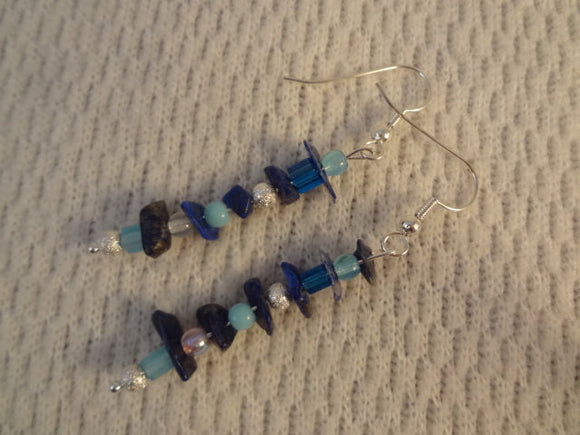 Lapis Lazuli Chips with Blue Czech Glass Stardust Beaded Earrings - Sujatha F067