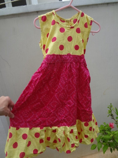 Super Cute Bright Yellow and Pink Polka Dot Woven Cotton Flare Dress in 12M, 3T, or 5T - Audrey 2859