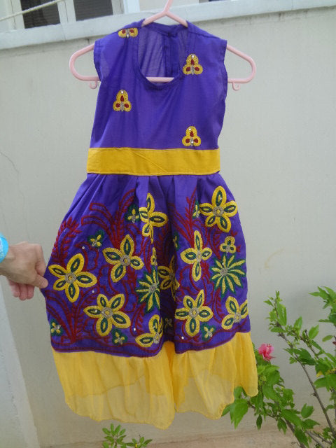 Super Cute Bright Yellow Purple Cotton Flare, Fancy Sequin Dress in 12M, 3T, or 5T - Marietta 2865