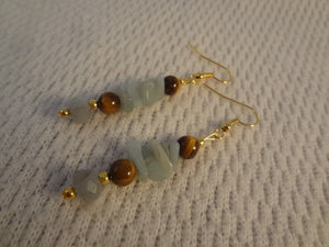 Natural Stone Amazonite and Tiger's Eye Beaded 22k Gold Earrings -  Connie  F071
