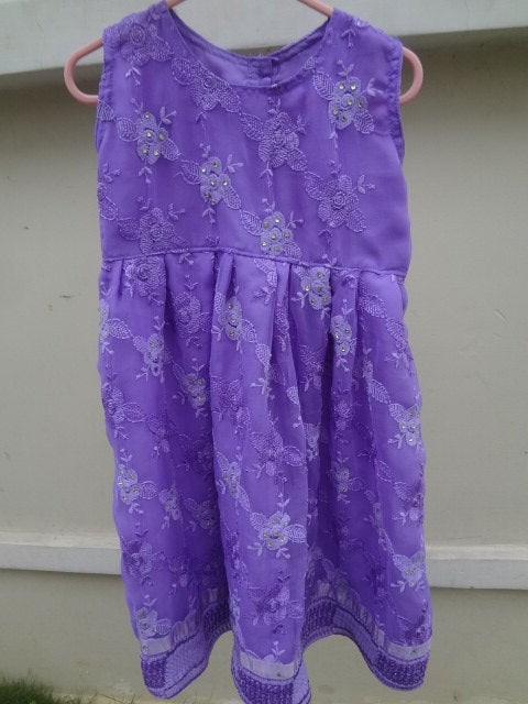 Adorable Lined, Lacy, Lavender Decorative Toddler Girl's Dress in 12M, 3T, or 5T -  Eleonora 2867