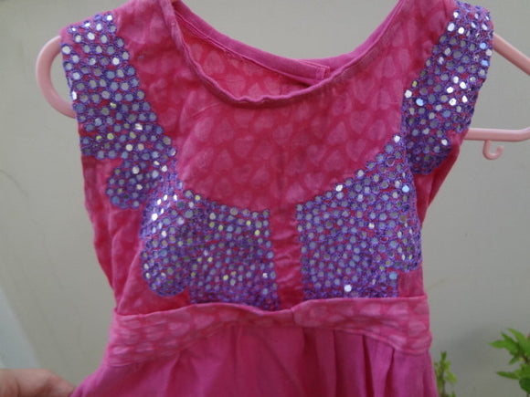 Soft Cotton Pink Hearts and Sparkle Flare Dress in 12M, 3T, or 5T - Lindsey 2863