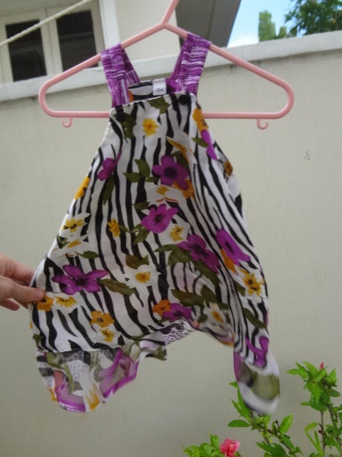 Too Cute Zebra with Purple Floral Baby Dress - Escondida 2860