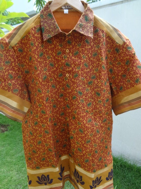 Men's Handmade Indian Woven Cotton Lined Short Sleeved Button Down Shirt - Size Large -  Sanjiv  F610