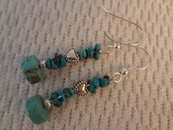 Genuine Turquoise and Tibetan Silver Heart Handmade Earrings - Veronique F075