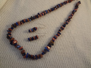 Healing Lapis Lazuli and Rhodonite Gemstone Nugget Necklace and Earring Set - Beautiful Blue Brown Earth Tones - F055