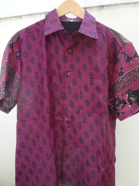 Purple Men's Handmade Indian Woven Cotton Lined Short Sleeved Button Down Pocket Shirt - Size Large -   Sanjay  F613