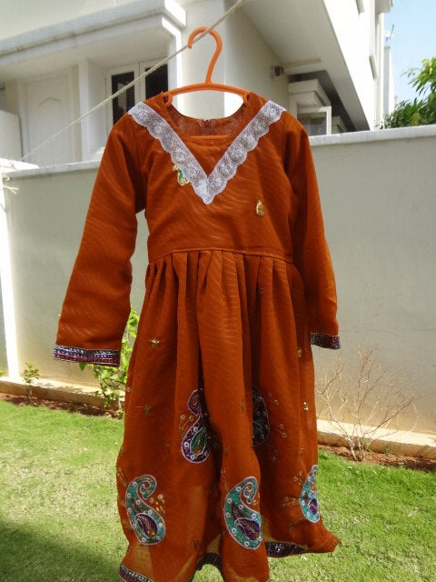 Fancy, Decorated Toddler Girls Indian Sari Fabric Handmade Long Sleeved Lined Dress - Lakshmi 2852