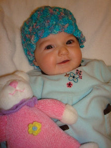 Soft, Hand Painted Wool Textured Baby Hat - Marshmellow 150