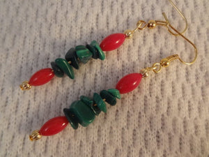 Holiday Red Coral and Green Malachite Christmas Natural Stone 22k Gold Earrings -  Shelley F081