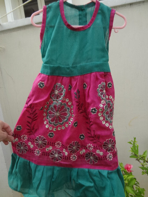 Super Cute Bright Pink and Green Cotton Flare, Fancy Sparkle Dress in 12M, 3T, or 5T - Sabrina 2862