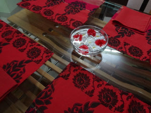 Elegant Rose and Magenta Floral Indian Cotton Placemat and Napkin Set for Four - Slight Seconds - Secunderabad F505