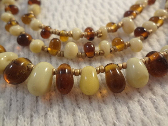 Earth Tones Three Layer Choker Imitation Jellybean Bead Necklace - F030