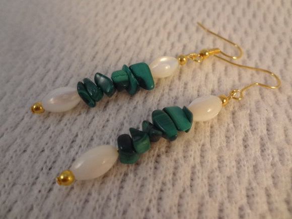Holiday Mother of Pearl and Green Malachite Christmas Natural Stone 22k Gold Earrings -  Diane F083