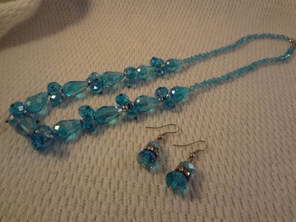 Sky Blue Teardrop 3D Glass Bead Jewelry Necklace and Earring Set - F005