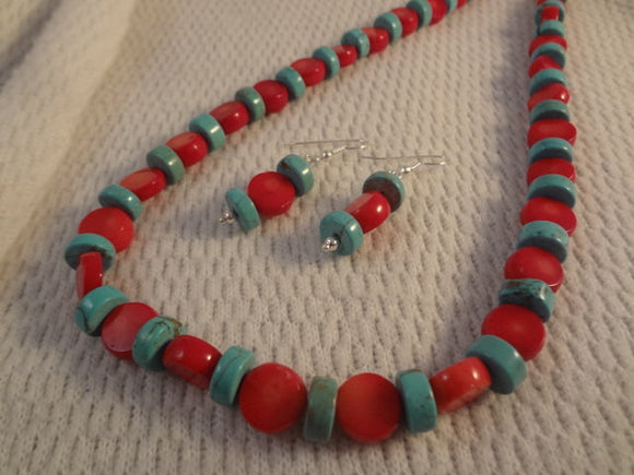 Genuine Turquoise and Red Coral Disc Gemstone Two Toned Necklace and Earring Set - F044